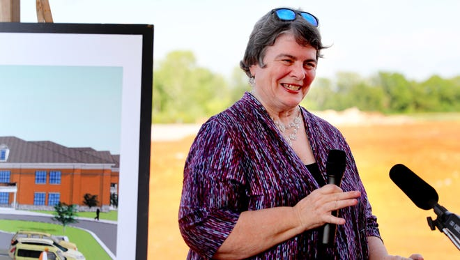 Director of Schools, Linda Gilbert, speaks during the Murfreesboro City Schools Groundbreaking for the city's 13th Elementary School on Tuesday afternoon, July 17, 2018. The school has not yet been named. Southwest Elementary is on the rendering because that is the school's location in the city.