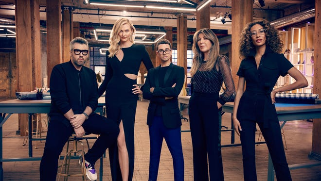 "Brandon Maxwell, Karlie Kloss, Christian Siriano, Nina Garcia, Elaine Welteroth in a promo photo for ""Project Runway"" Season 17."