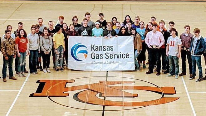 Kansas Gas Service representatives came to Kiowa County High School last week with a special presentation of a check for the amount needed to pay for replacing After Prom prizes that had been stolen from the After Prom committee.