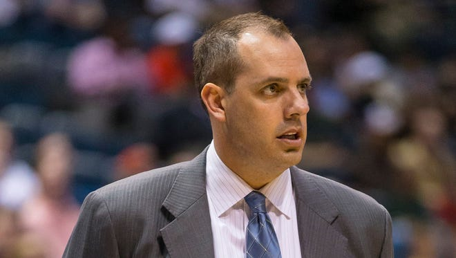 Indiana Pacers head coach Frank Vogel looks on during the first quarter against the Milwaukee Bucks at BMO Harris Bradley Center.
