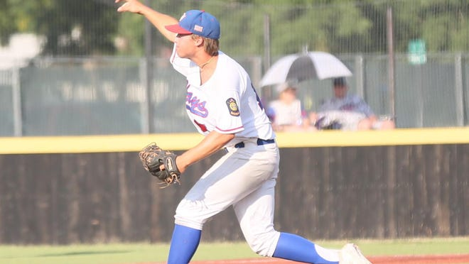 Hays Eagles' pitcher Colby Dreiling delivers a pitch on Saturday against Russell in the Wild West Fest tournament.