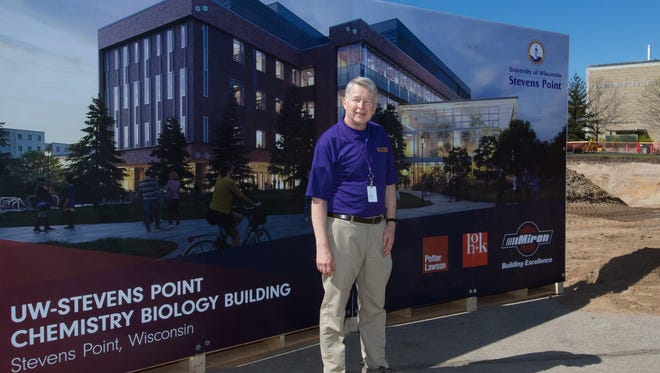 Carl Rasmussen is retiring from his role as director of facilities planning at UW-Stevens Point. He is see at the May 2016 groundbreaking of the Chemistry Biology Building.