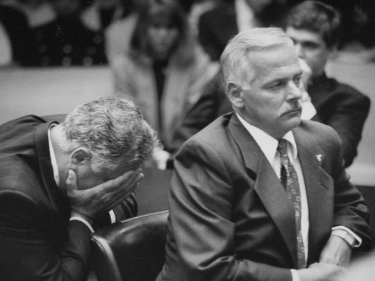 Police officers Larry Nevers, left, and Walter Budzyn were convicted of second-degree murder in the 1992 beating of Malice Green.