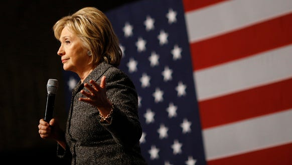 Hillary Clinton speaks during a campaign event at Iowa