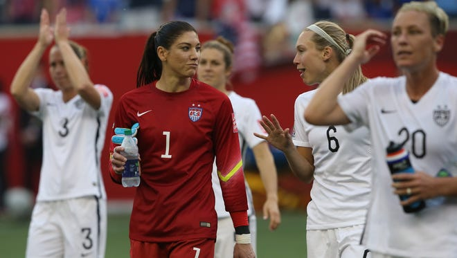 U.S. goalkeeper Hope Solo (1) walks off the field after defeating Australia 3-1 in a Group D soccer match in the 2015 women's World Cup at Winnipeg Stadium on June 8, 2015.