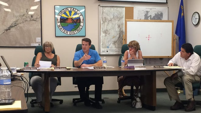 The Virgin Valley Water District board discusses a project at a recent meeting.
