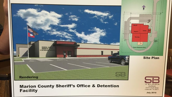 A rendering of the exterior of the proposed new Marion County Sheriff's Office & Detention Facility.