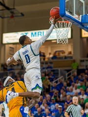 FGCU junior point guard Brandon Goodwin wears '0' in