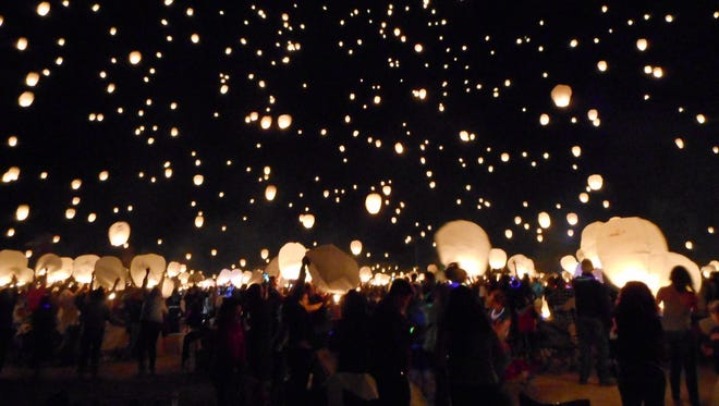 Three thousand lanterns light up the night sky at the Lantern Fest in 2016 at the Reno-Fernley Raceway.