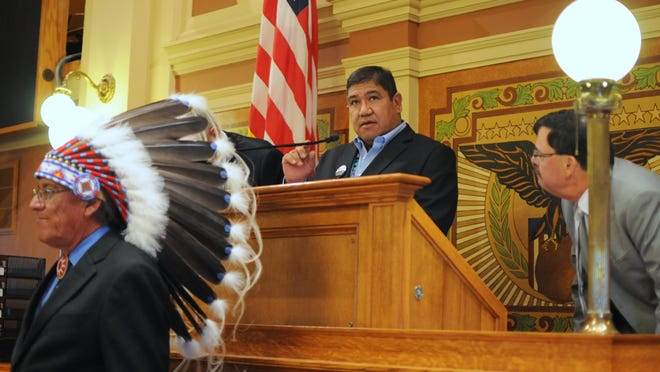 Cheyenne River Sioux tribal Chairman Harold Frazier is shown addressing the Legislature at the state Capitol in Pierre, last year. (AP Photo/James Nord)