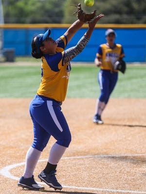 Angelo State University infielder Karina Rocha hit a two-run home run in Saturday's doubleheader opener against Texas A&M-Kingsville.