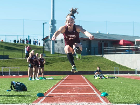 Hannah Baddick competes earlier this season. The Gettysburg junior won the YAIAA triple jump title last year.