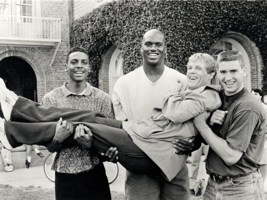 """Blue Chips"" featured, from left, Penny Hardaway, Shaquille O'Neal, Nick Nolte (as the coach) and Matt Nover."