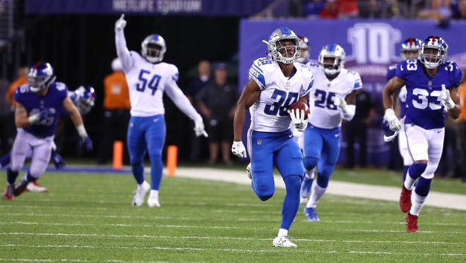 Sept. 18, 2017: Lions rookie Jamal Agnew returns a punt 88 yards for a touchdown in the fourth quarter against the Giants on Monday Night Football in East Rutherford, N.J. The Lions won, 24-10.