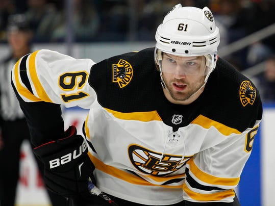 Boston Bruins forward Rick Nash (61) lines up for a face off during the first period of an NHL hockey game against the Buffalo Sabres, Sunday, Feb. 25, 2018, in Buffalo, N.Y. (AP Photo/Jeffrey T. Barnes)