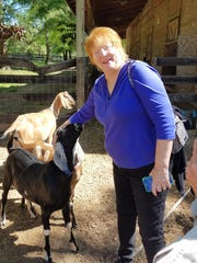 Nancy Holaday makes friends with the goats at Tallabred Farms during the TSC's Lifelong Learning class Happy Goats Make Happy Soap.