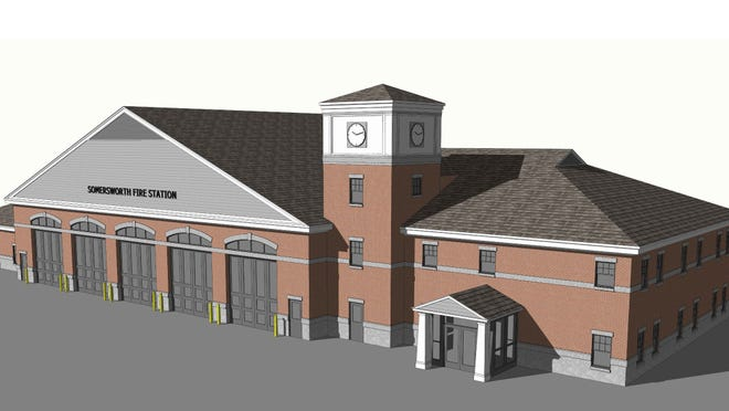 This version of the plans for the new Somersworth Fire Station include a three-story hose tower. City Council will hold a public hearing July 13, after which it is expected to vote on final design and to bond the project.