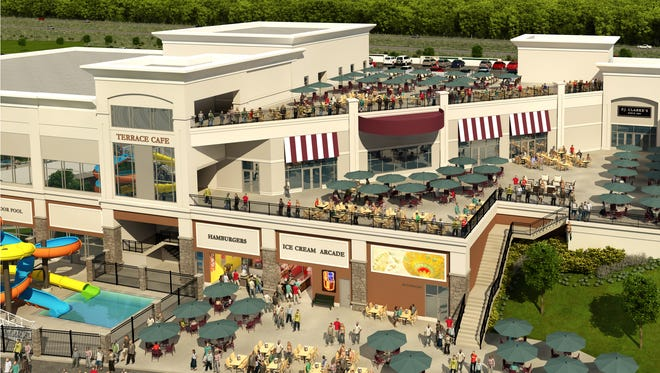 An artist's rendering shows the plan for an outdoor terrace at Tioga Downs Casino.