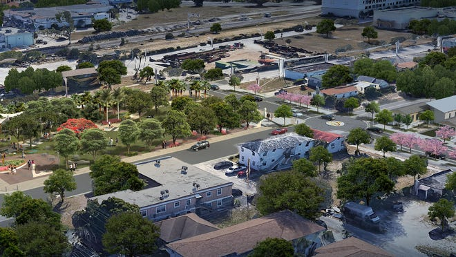 Heart & Soul Park, a music-themed public space across from the Sunset Lounge, is scheduled for completion late this year.