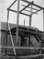 The gallows, borrowed from Illinois and reassembled