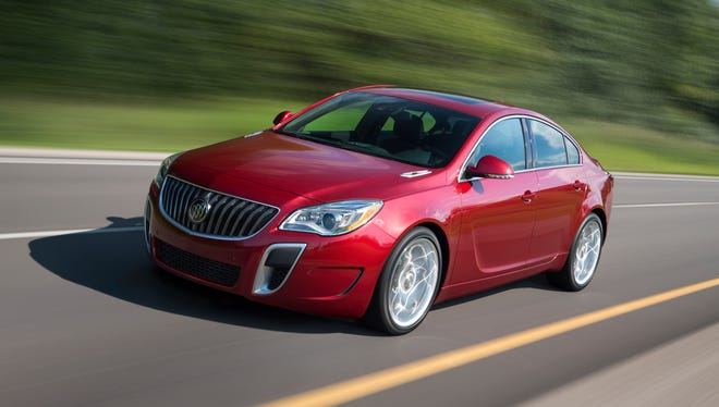 """""""Consumer Reports"""" says its test show the Buick Regal is the equal of the BMW 328 and Mercedes-Benz C250 for thousands of dollars less. A 2015 Buck Regal GS is pictured."""