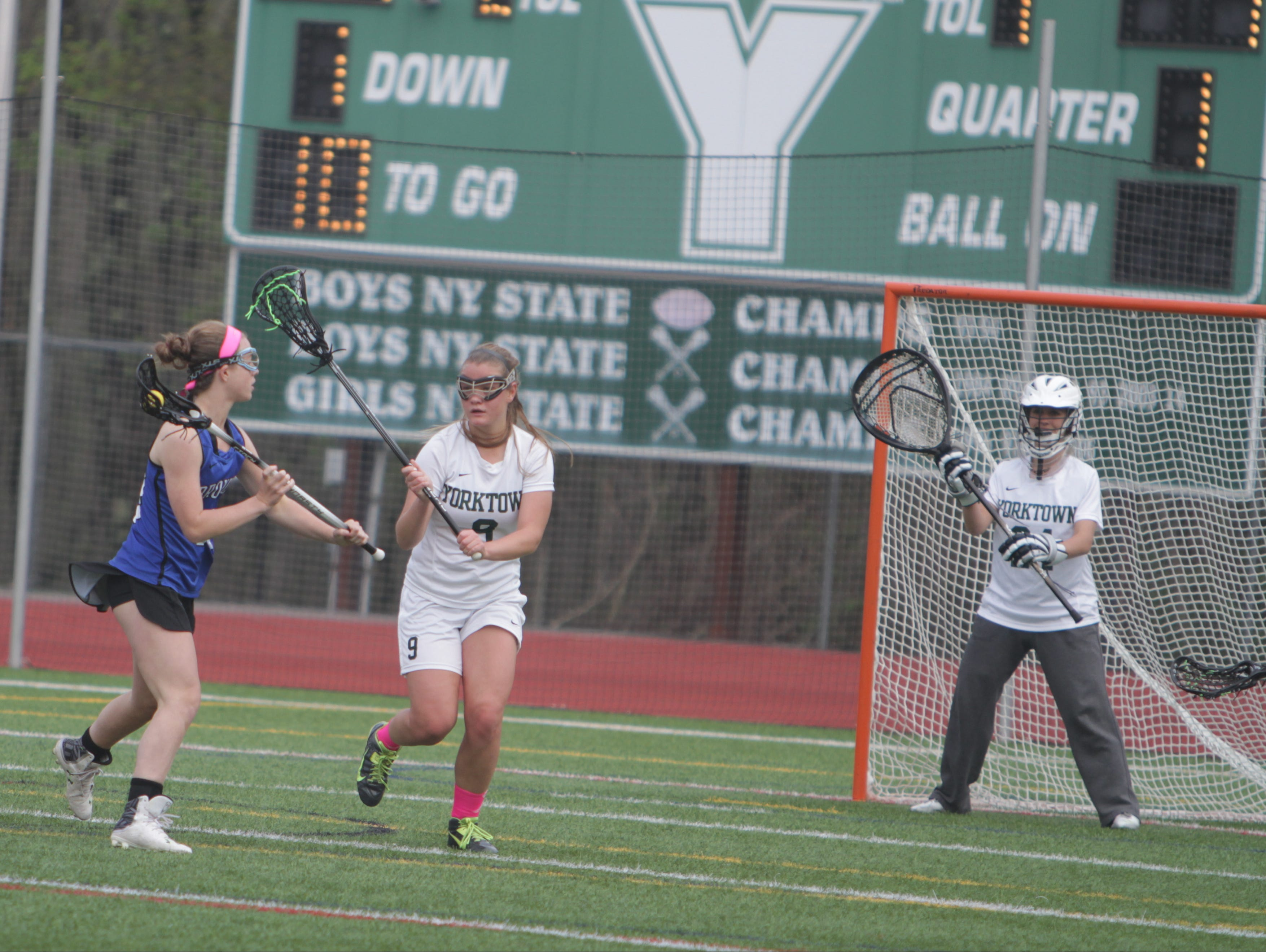 Action during a Section 1 girls lacrosse game between Yorktown and Bronxville at Charlie Murphy Field at Yorktown High School on Monday, May 2nd, 2016. Yorktown won 12-7.
