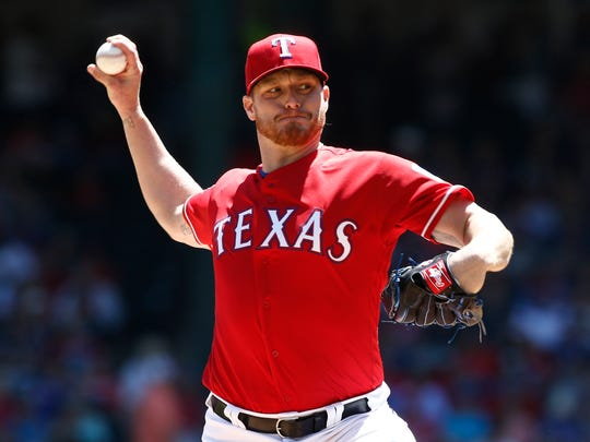 Shelby Miller pitches for the Texas Rangers this season against the Houston Astros.