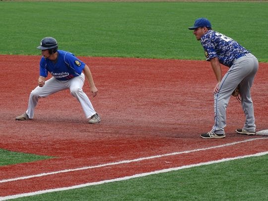 Lancaster Post 11's Jaden Rowland takes a lead at first