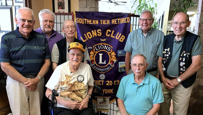 The Southern Tier Retired Lions Club meets twice monthly at Giuseppe's Restaurant in Horseheads. In the front row are members Fred Morgan, left and Dick Shore. Back row, from left, are Dave Rouse, Mike Lepak, Jack Schwartz, club President Brian O'Donnell and Dick Brigger.