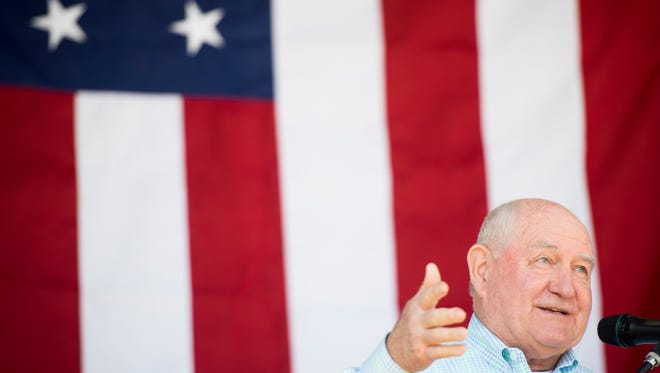 U. S. Department of Agriculture Secretary Sonny Perdue speaks at a Tax Day event held at the Knox Farmers Cooperative on Tuesday, April 17, 2018.