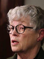 MSU President Lou Anna Simon speaks to members of the
