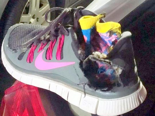 A look at Amy Castanon's shoe she was wearing the day