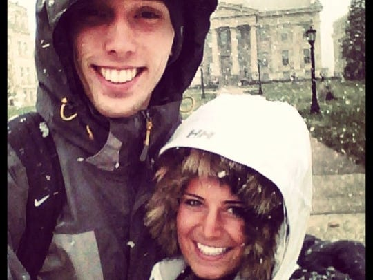 Jarrod Uthoff and his fiancee, Jessie Jordan, at the UI pentacrest. They first met in the fall of 2011.