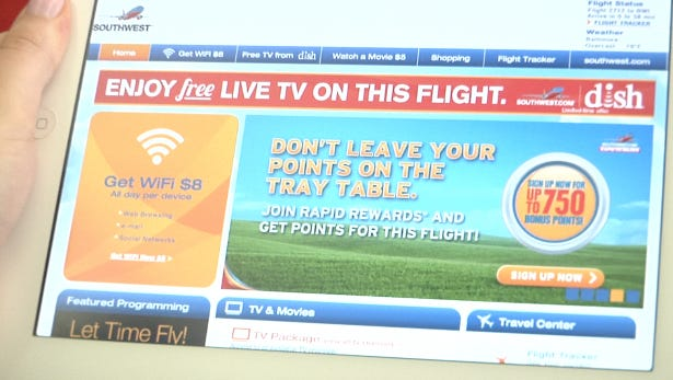 Southwest has teamed up with Dish to offer fliers access to free in-flight programming.