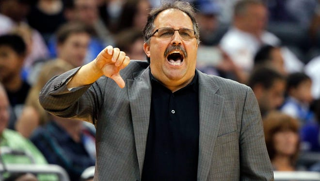 Detroit Pistons coach Stan Van Gundy reacts against the Orlando Magic.