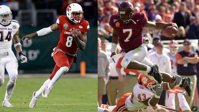 Louisville quarterback Lamar Jackson (left) has drawn comparisons to former NFL and Virginia Tech quarterback Michael Vick, including from VIck himself.