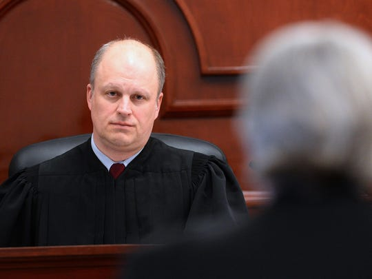 Judge John Parker conducts initial appearances at the Cascade County Courthouse on Monday afternoon. Parker, was recently appointed to the district court bench by Governor Steve Bullock.