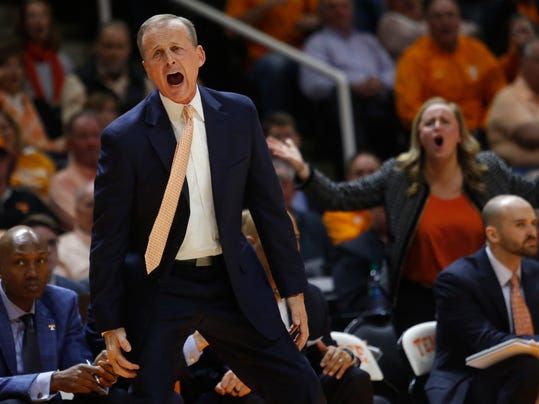 Tennessee coach Rick Barnes reacts to a call during the second half of the team's NCAA college basketball game against Georgia on Saturday, March 3, 2018, in Knoxville, Tenn. (AP Photo/Crystal LoGiudice)