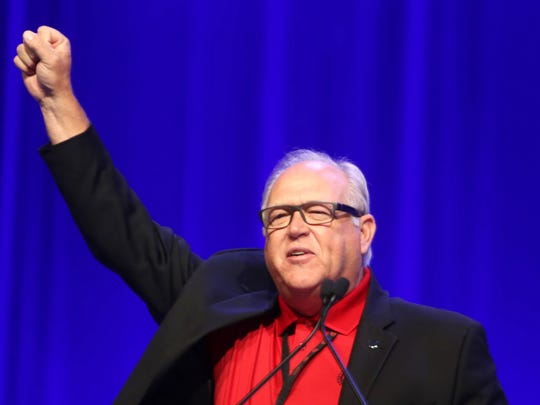 UAW  President Dennis Williams delivers his speech during day two of the 2015 Special Bargaining Convention at Cobo Center in downtown Detroit Wednesday, March 25, 2015.