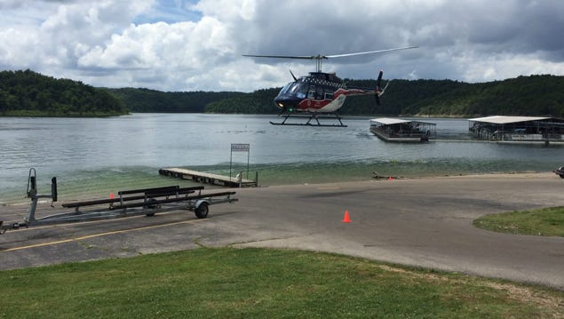 An Air Evac helicopter lifts off from Fout's Boat Dock with 35-year-old Paragould resident Gilbert Bradford aboard.