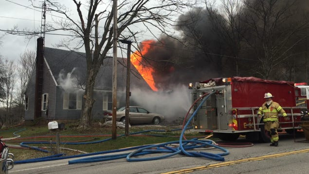 Several area fire departments battled a house fire at 2525 Ohio 96 Monday afternoon amid strong winds.