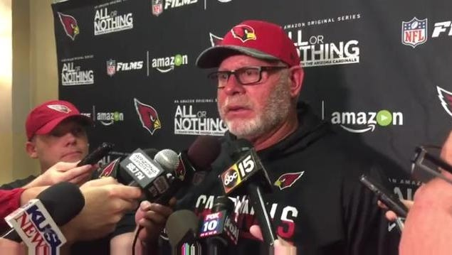Cardinals coach Bruce Arians answers questions from the media on Tuesday in San Diego.