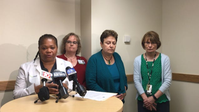 Dr. Janice Harbin, President and CEO of Anthony Jordan Health Center, addresses the media on contract negotiations involving unionized workers and a federal mediator.