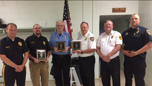 From left to right, Cleona Borough Chief of Police Jeffrey Farneski, Bellegrove Fire Police Lt. Brett Seibert, Annville-Cleona Fire District Capt. Jim Westhafer, Waterworks Fire Police Lt. Ray Blauch and Capt. Mike Wilt, and North Annville Township Police Chief Matthew Bartal pose for a photo during the North Annville Township Fire Police Appreciation Night on June 11, 2018.