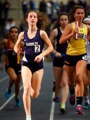 Randolph junior Abby Loveys anchors the distance medley