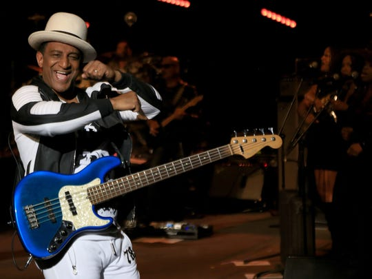 Mikey Craig of Culture Club dances during his band's