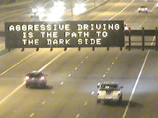 """The """"star Wars"""" themed sign amused many drivers this morning."""
