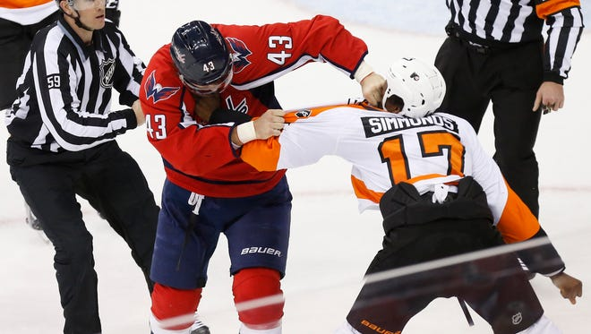 Apr 14, 2016; Washington, DC, USA; Washington Capitals right wing Tom Wilson (43) fights Philadelphia Flyers right wing Wayne Simmonds (17) in the third period in game one of the first round of the 2016 Stanley Cup Playoffs at Verizon Center. The Capitals won 2-0, and lead the series 1-0. Mandatory Credit: Geoff Burke-USA TODAY Sports