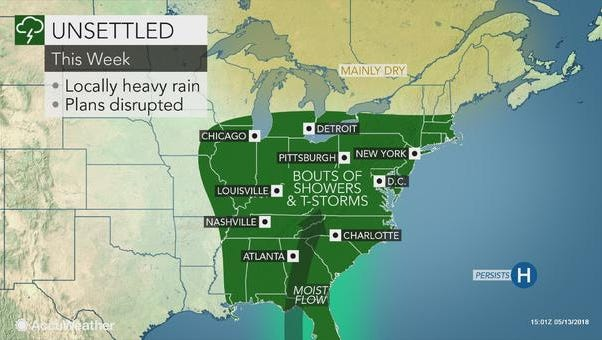This Accuweather map shows a stormy week ahead.