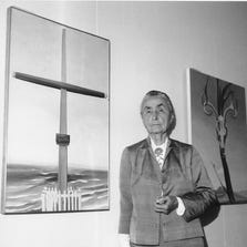 Georgia O'Keeffe stands next to her original oil paintings during a press review of her 121 paintings, watercolors, and drawings on exhibit at the Whitney Museum of American Art, in New York on Oct. 8, 1970. The Georgia O'Keeffe Museum said Friday, Sept. 12, 2014, it will sell three works by the American modernist painter to benefit its acquisitions fund.